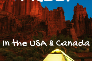 Yellowish green tent pitched at night with dessert mountains in background. How to Camp for Free