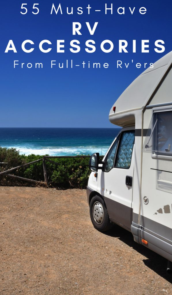 When it comes to RVing, we don't mess around. If you are new to the RV life, here are 55 RV Accessories must-haves from fulltime RV'ers. #rvliving #rvlife #fulltimerving #rvaccessories #ourroaminghearts | Rv Living | RV Accessories | RV Hacks | Full Time RV Living | Traveling in an RV