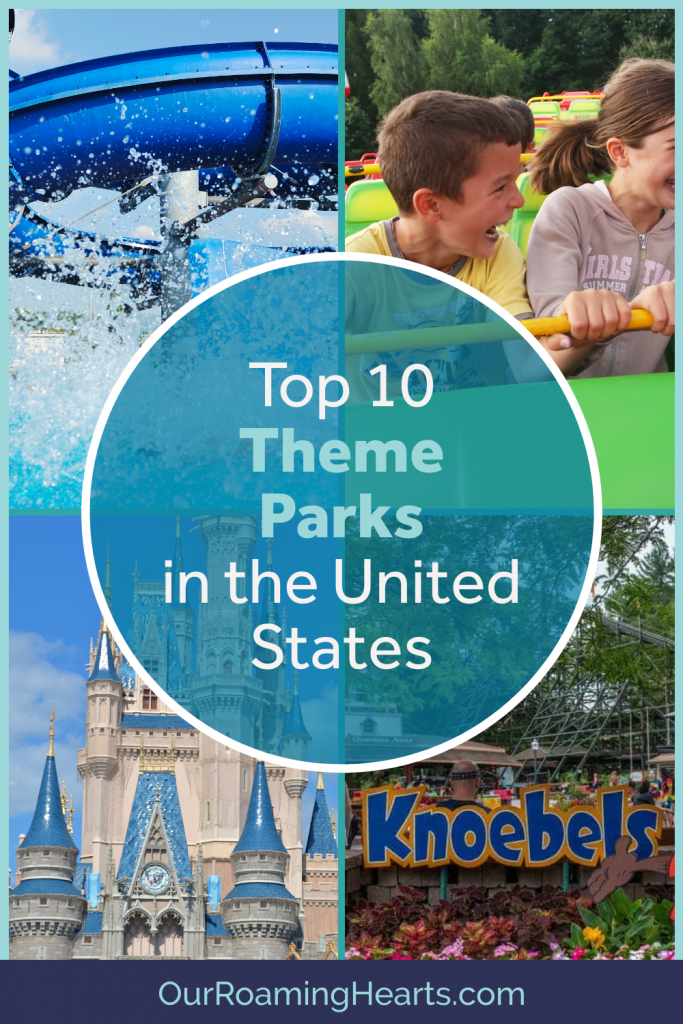 Theme Park Enthusiast will love this one! These are our Top Theme Parks in the US. We love them and are positive you will too! #ourroaminghearts #themeparks #hersheypark #magickingdom #knoebels #noahsarkwaterpark #knottsberryfarm #cedarpoint #sixflagsmagicmountain #kindsisland #universalsislandofadventure | Theme Parks in the US | Top Theme Parks | Waterparks | Rollercoaster Parks | Best Theme Parks In the US