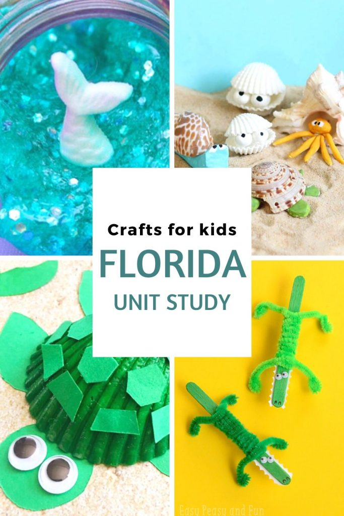 New on our Florida Unit Study we added Florida crafts to get some hands-on fun. From Slime to Clothespin crafts, we have you covered! #ourroaminghearts #florida #crafts #unitstudy #roadschooling #homeschooling | Florida | Crafts about Florida | Roadschooling | Homeschooling | Unit Study | Florida Unit Study | Crafts for Kids