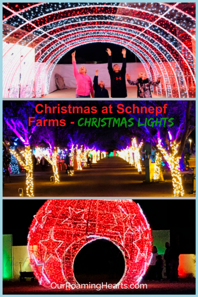 Christmas at Schnepf Farms is truly a winter wonderland that will leave you speechless and provide you with some of the best memories. #christmas #ourroaminghearts #schnepffarms #christmaslights #arizona | Arizona Christmas Lights | Schnepf Farms | Christmas Lights | Family Christmas Fun | Arizona |